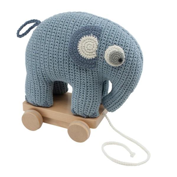 sebra Häkel-Elefant Nachziehtier, powder blue