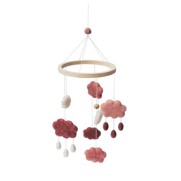 sebra Wolkenmobile aus Filz, cotton candy pink