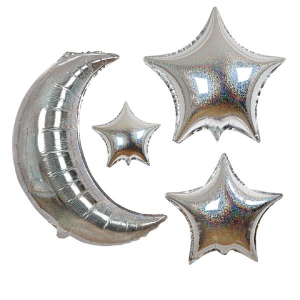 Meri Meri 6 Mond und Sterne silberne Glitzer-Ballons