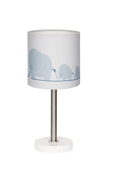 LIVONE Tischlampe Happy Style for Kids - Elefanten blaugrau/weiss