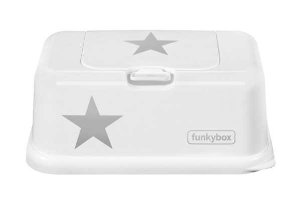 Funkybox Feuchttücher Box weiß - Stern silber