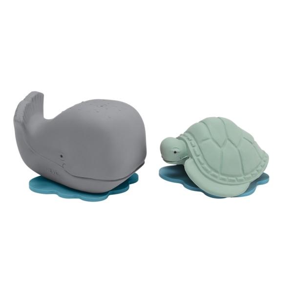 HEVEA Badespielzeug Set Ingolf der Wal + Dagmar die Schildkröte - Naturkautschuk