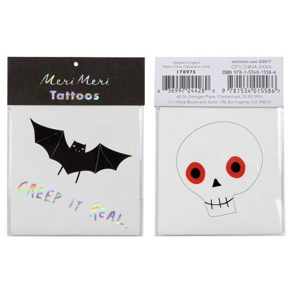 Meri Meri Tattoos Fledermaus- und Totenkopfmotiv