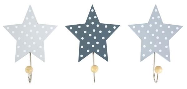 JaBaDaBaDo Wandhaken Sterne grau 3er Set