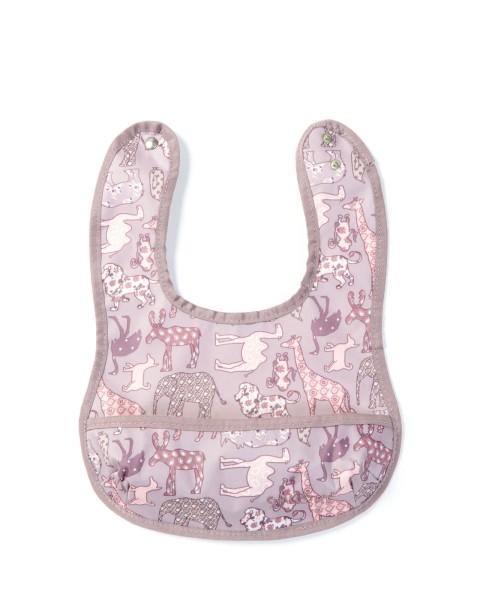 Smallstuff Lätzchen mit Tasche - Tiere rosa