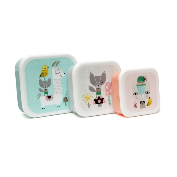 Petit Monkey Lunchbox - 3er Set lama & friends