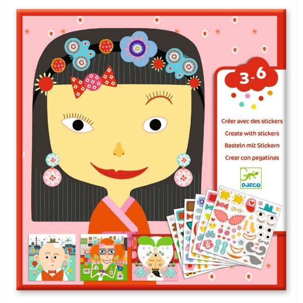 Djeco Sticker + Vorlage: Jeder ist anders