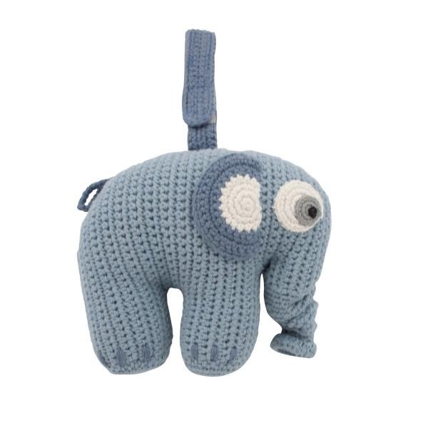 sebra Häkel-Spieluhr, Elefant, powder blue