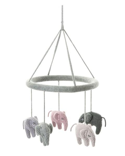 Smallstuff Mobile Elefant rosa/grau
