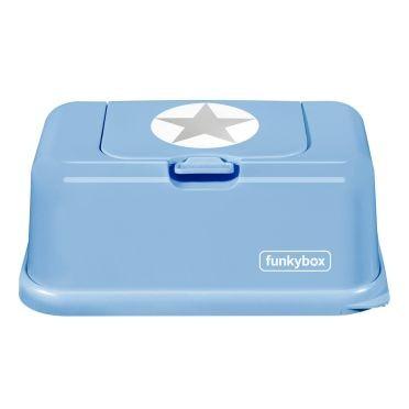 Funkybox Feuchttücher Box hellblau - Stern silber