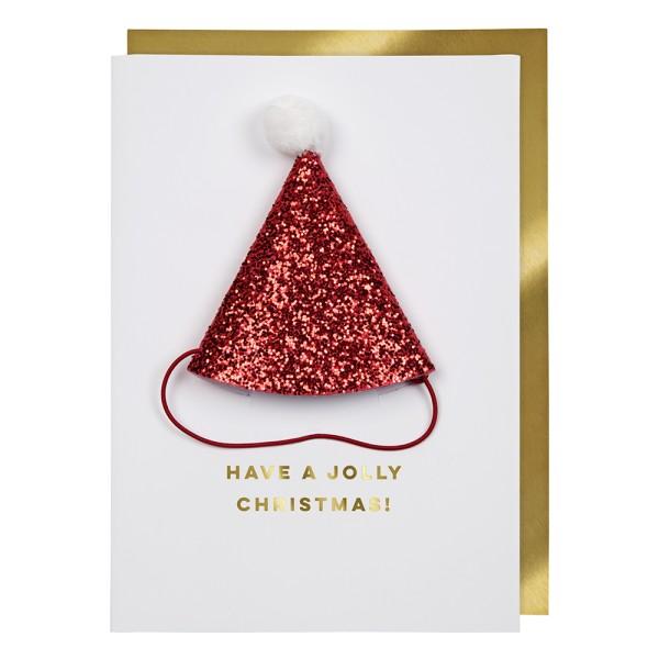 Meri Meri Weihnachts-Grußkarte Weihnachtsmütze.