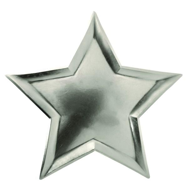 Meri Meri 8 silberne Papp-Teller in Sternform