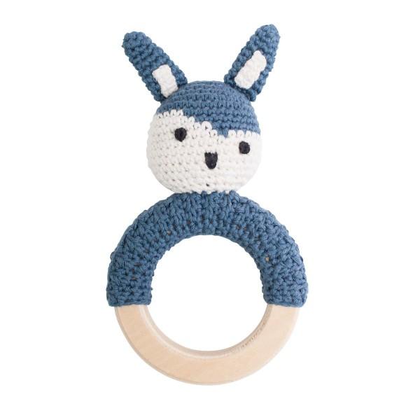 sebra Häkel-Rassel, Kaninchen auf Holzring, königsblau