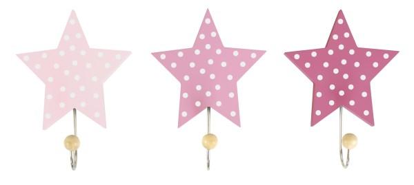 JaBaDaBaDo Wandhaken Sterne rosa 3er Set