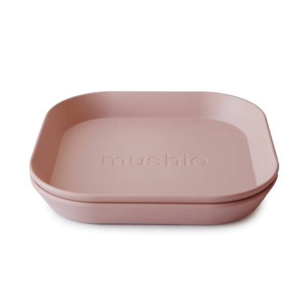 Mushie Teller eckig rosa 2er Set