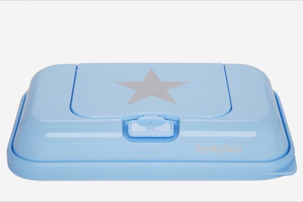 Funkybox TO GO Feuchttücher - Box hellblau Stern silber