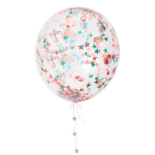 Meri Meri 3 Luftballons gefüllt mir Konfetti in Sternenform