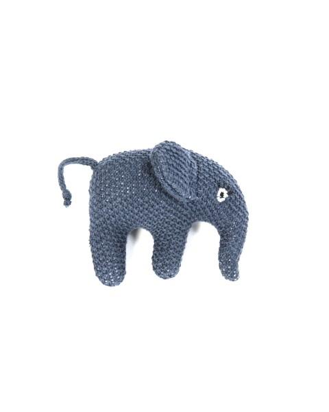 Smallstuff gehäkelte Rassel Elefant blau