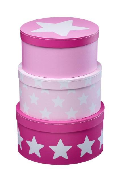 Kids Concept Pappboxen rund 3-Set, Star rosa