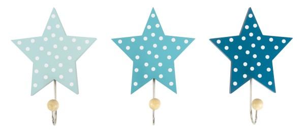 JaBaDaBaDo Wandhaken Sterne blau 3er Set