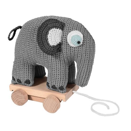 sebra Häkel-Elefant Nachziehtier, grau
