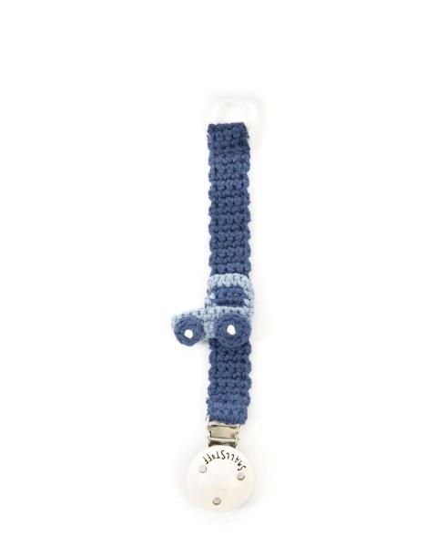 Smallstuff Schnullerband gehäkelt Traktor blau
