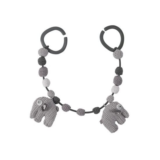 sebra Häkel-Kinderwagenkette, Elefant grau
