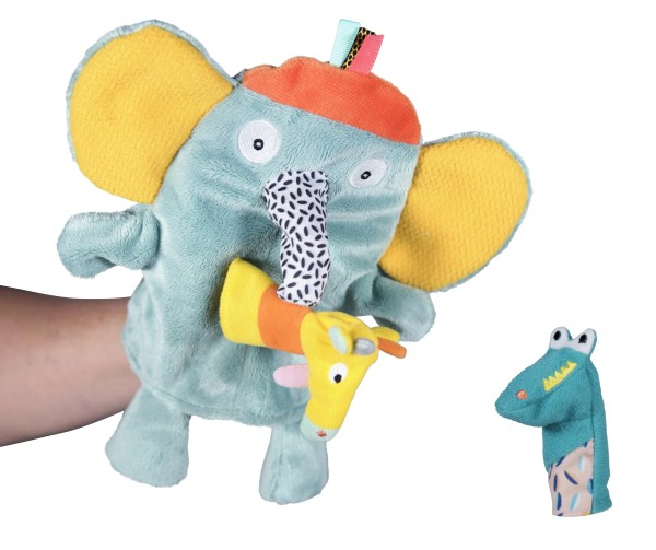 Ebulobo Jungle Boogie Marionettenpuppe Elefant mit zwei Fingerpuppen