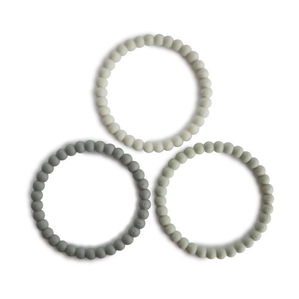 Mushie Beißarmbänder Perlen 3er Set grün/dunkelgrau/hellgrau